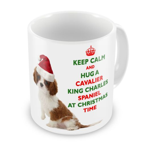 Christmas Keep Calm And Hug A Cavalier King Charles Spaniel Novelty Gift Mug